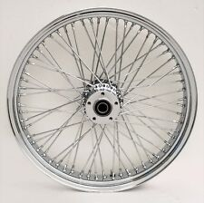 """Chrome Billet 80 Spoke 21"""" x 3.5"""" Front Single Disc Wheel for Harley & Custom"""