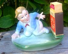 antique French,porcelain pyrogene BOY,match-striker,match-holder,marked