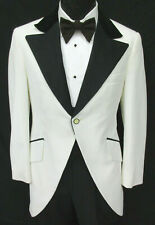 Men's Vintage White Tuxedo Jacket Morning Coat Cutaway Tailcoat 1970's Prom 46XL