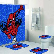Spider-man Bathroom Set 4PCS Bath Rugs Shower Curtain Mat Toilet Lid Cover Gift
