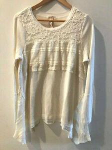 SUNDANCE CATALOG Lovelace Thermal Lace Ivory Tee Tunic MEDIUM Orig $88