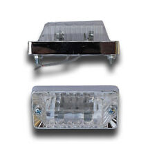 2 X WHITE FRONT SIDE MARKER INDICATOR LIGHTS CHROME TRUCK TRAILER CARAVAN LORRY