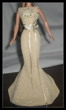 DRESS BARBIE ZODIAC LEO FITTED GOLD/SILVER MERMAID EVENING DRESS GOWN CLOTHING