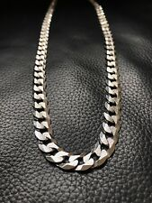 "Mens Flat Miami Cuban Link Chain Solid 925 Sterling Silver 26"" Diamond Cut 11mm"