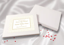 Personalised A5 White Linen Finish Wedding Guest Book - Champagne Damask
