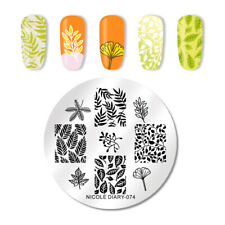 NICOLE DIARY Round Nail Stamping Plates Stainless Steel Leave Stamp Template 074