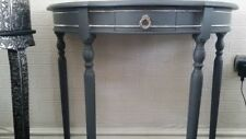 Console table submarine grey with chrome detailing and draw