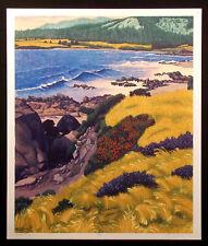 "Gordon Mortensen ""Carmel Bay"" Signed Numbered Art Woodcut Print of a Beach, 1989"
