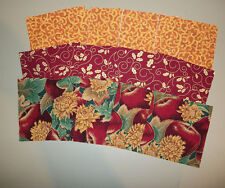 """Autumn Apples and Gold~~ Metallic Squares Kit~ 45~4""""~~Squares  15 Each of 3"""