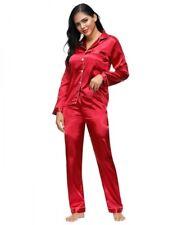 Lau-Fashion pijama pijama satén look rojo manga larga dos piezas de traje de pantalón S/M