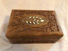 "Vintage Hand Carved Floral Folk Artist Wood Jewelry Box W/ Inlays 6 x 4 x 2.5"""