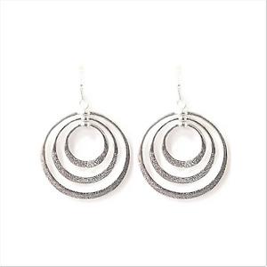 Triple Hoop Dangle Earrings Silver NEW