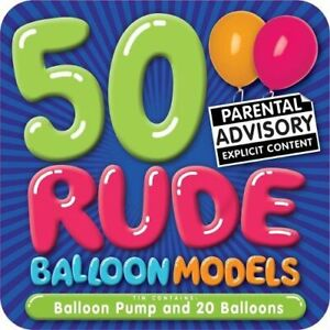 50 Rude Balloon Models - Adults Only + Storage Tin *FREE P&P*