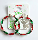 CLAIRES ACCESSORIES, CHRISTMAS LARGE TWISTED CANDY CANE HOOP EARRINGS 🎄