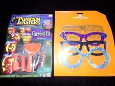 NEW HALLOWEEN PUMPKIN MASTERS CARVING KIT GLASSES STRONGER TOOLS WRAP EASY TO DO