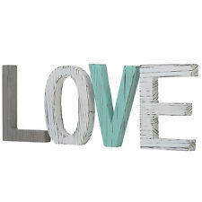 Distressed Wood Block Love Sign, Decorative Wooden Cutout Letters