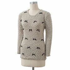 LC Lauran Conrad Beige Ribbon Pearl Sweater XS