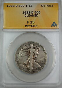 1938-D Walking Liberty Silver Half Dollar, ANACS F-15 Details, Cleaned Coin