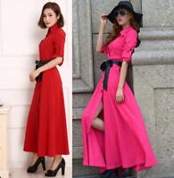 Hot Sale Slim Womens Full length Dress Shirts Belt Long Sleeve Maxi Gown Fashion