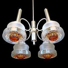 Mid Century Modernist Murano Mazzega Amber Art-Glass Italian Chrome Chandelier