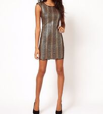 1920's Style Gold Sequin Scalloped Power Shoulders Low Back Bodycon Dress