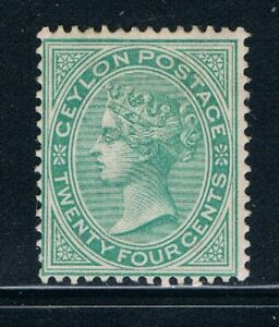Ceylon - 1872-80 - 24¢ QV Green -Perf 14 -Wmkd Crown CC - SC 68 [SG 127] MINT R5