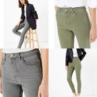 M&S Marks Spencer Womens Carrie Bling Silver Trim Khaki Grey Jeans Trouser