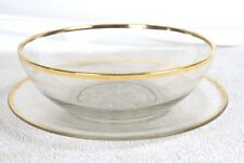 CLEAR GLASS GOLD TRIM PLATE AND BOWL SET VINTAGE COLLECTIBLE OOAK FLOWER