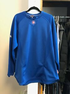 Majestic Chicago Cubs Therma Base MLB Baseball Blue Pullover Long Sleeve XL