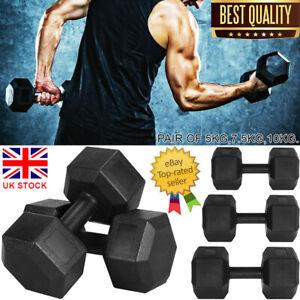 UK 2x5kg/7.5kg/10kg Pair Hex Dumbbell Rubber Dumbbells Weights Home Gym Fitness