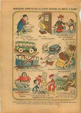 Dessin Humour le Bruit à Paris Avertisseur Sonore Bus Voiture 1931 ILLUSTRATION