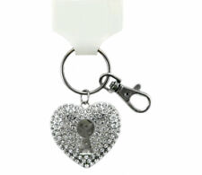 Silver Tone Heart with keyhole lock Key Ring Sparkle Glitter Bling