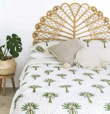 Indian Kantha Quilt Boho Bedspread Comforter Bedding Cover 100% Cotton Palm Tree