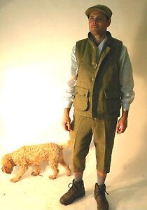 Tweed Waist Coat New Men's Made In England Green Moleskin Collar S M L XL XXL