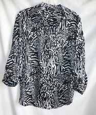 'NEW' MILANO Animal-Printed Design Blouse  - Size: M