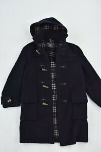 """Vintage Burberry Duffle Coat 42"""" Chest Navy Blue Checked Lining Retro Wool"""