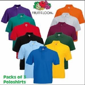 3 Pack Fruit of the loom polo shirts