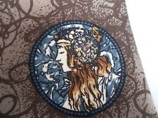 Alphonse Mucha Art Nouveau Lady Design Oscar de La Renta Couture Silk Velour Tie