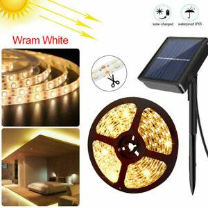 3m 5m Solar Powered LED Strip Lights Flexible Tape Outdoor Garden Fence Lamp