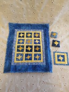 Vintage Handmade Artisan Dollhouse Friendship Stars Quilt Bedspread + Pillows~