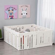 HOMCOM Baby Laufgitter 14 Elemente Schutzgitter mit Tür und Spiel HDPE PP Weiß