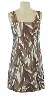 BODEN Women's Brown / White Printed Sleeveless Side-Zip Tunic US 4 Regular NEW
