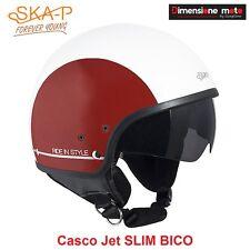 Casco JET Con Visiera Scomparsa SKA-P SLIM BICO Bianco/Rosso Metal Taglia L 58cm
