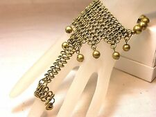 Stretch Bracelet JACK E OHS NYC design brass color beads and chain