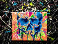 melting skull art acrylic on canvas black light reactive 8x10