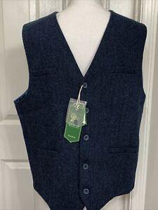 Emerald Isle Navy Blue Herringbone Tweed Vest Waistcoat Men Sz 46 Wool Blend NWT