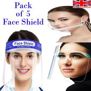 5 Reusable Clear Mask Plastic Half Face Cover Anti-saliva Protective Face Shield