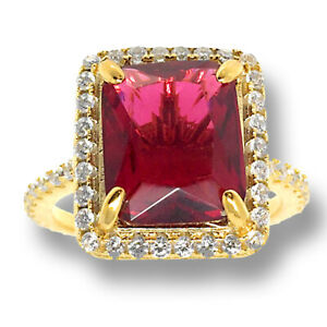 Ladies Men's New Yellow Gold Tone Real Sterling Silver Ruby Simulated Stone Ring