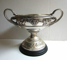Antique Silver LARGE Urn Religious Chalice Lion Serpent Angels Laurel 19th Cen