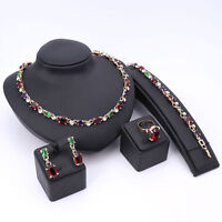 Hot Colorful Cubic Zirconia Gold Plated Crystal Necklace Statement Jewelry Sets